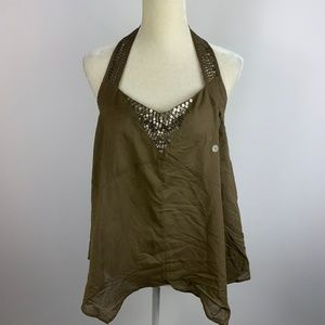 NWT American Eagle Brown Large Beaded Tie Neck